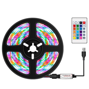 USB Dimmable RGB Colorful LEDs Strips Light with IR Remote Control 16 Colors 4 Lighting Modes