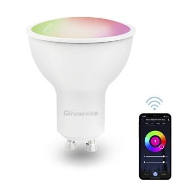 GU10 WiFi Intelligent Bulb 5W 450LM  2700K-6500K RGB+CCT Adjustable Light Voice Control APP Remote Control