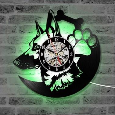 12 inch Wall Clock Retro Wall Mounted Timepiece Shepherd Dog Animal Design LP Clock(Without Light)