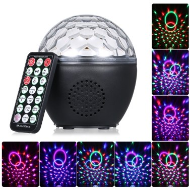USB Rechargeable Disco Ball Light with IR Remote Control BT Connection Music Speaker Sound Activated Light for Parties Birthday Gift Room Wedding Christmas