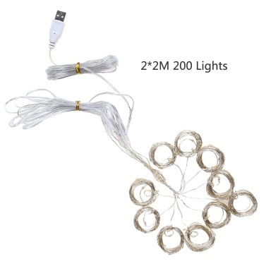 3*2M 200 Lights Warm White Constant Bright String Light USB Copper Wire Curtain Lamp