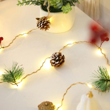 2 Meters 20 LED Warm Light IP54 LED Christmas Decorative Light Pine Cone Light String  No Battery During Shipping(Complex Style)