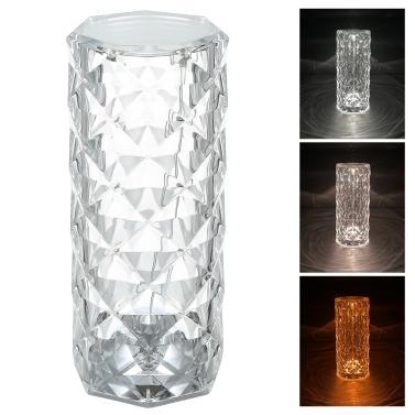 Акриловая алмазная настольная лампа с сенсорным управлением 3 цвета освещения с регулируемой яркостью