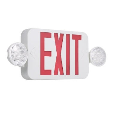 AC120/277V Red Exit Sign LEDs Combo Emergency Light with Adjustable Two Head Backup Batteries