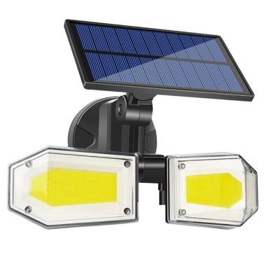 56 LEDs Solar Doppelkopf-Wandleuchte Bewegungserkennung Haushaltsgarten Outdoor IP65 Wasserdichtes Licht