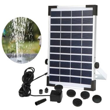 5.0W Solar Water Pump Fountain Garden Mini Floating Fountain Outdoor Pool Bird Feeder