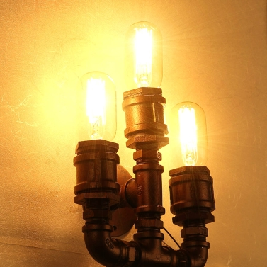 Retro Vintage Personality Bronze Metal Water Pipe Shaped Wall Lamp Holder Light Base for 2 E27 Bulbs Room Bar Decoration