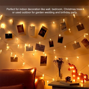 Batterys Powered 20leds Warm White Fairy String Lights 2.2M/7.22FT with Photo Clips for Hanging Pictures Cards in Living Room Bedroom Party