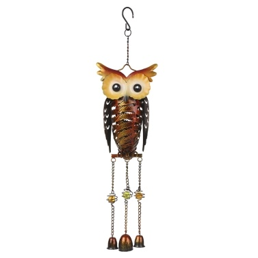 Tomshine Solar Powered Owl Wind Chimes Light Outdoor Hanging Lamp IP44 Water-resistant Metal LED Decorative Light