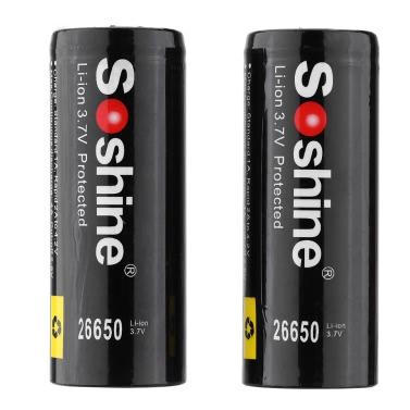 Soshine 2pcs 26650 3.7V 5500mAh Protected Rechargeable Li-ion Lithium Battery