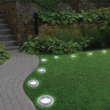 1 Pcs Disk Solar Powered Ground Lawn Lights