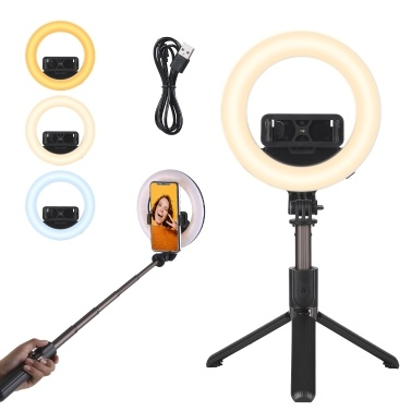 Dimmable Selfie RingLight with Tripod Stand and Adjustable Phone Holder Bracket