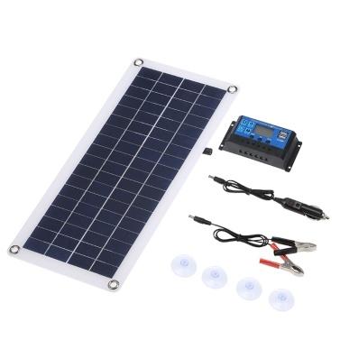 DC 5V/18V Dual Output 20W Solar Panel with 2 USB Ports & Car Charge IP65 Water Resistance 12V/24V Solar Charge Controller PWM Intelligent Regulator
