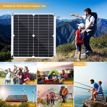 Flexibles 20-W-DC-9-V / 18-V-Solarpanel mit 50-A-L-ED-Display-Controller-Kit-Set mit USB- / Typ-C-Schnittstelle und Auto-C-Harger 10/20/30/40/50-A-Solar-C-Harge-Controller IP65 Wasserbeständigkeit für Wohnwagen im Innenbereich Verwendung im Freien Tragbar