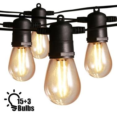 Ltteny 15 PCS 2W S14 Glühbirnen 48-Fuß-Outdoor-Lichterketten Terrassenlichter
