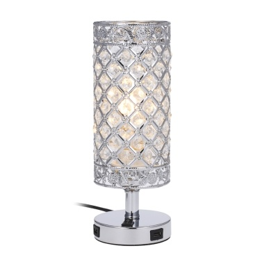 Tomshine Crystal Beside Table Lamp Decorative Desk Light with Dual USB Charging Port Modern Nightstand Lamp