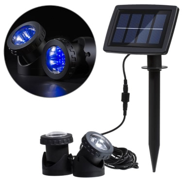 Lixada Solar Powered Super Bright 2 Underwater Lamps 12 LEDs Light Sensor Projector Light Garden Pool Pond Yard Submersible Spotlight Outdoor Landscape Lighting Use Blue