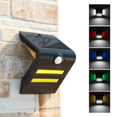 Solar Motion Detection Wall Lamp IP65 Three Lighting Modes Main Light Source White Light+Atmosphere Light