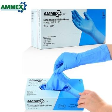 AMMEX 100Pcs Einweg-Nitrilkautschuk-Handschuh Dickes Gummi-Pulver frei starke dehnbare Handschuhe