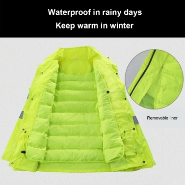 Safety Rain Jacket with Down Jacket Waterproof Reflective High Visibility with Detachable Hood Safety Raincoat Traffic Jacket for Adult Yellow Size 3XL