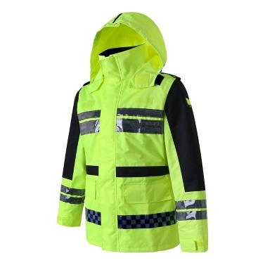 Safety Rain Jacket High Visibility Waterproof Reflective Raincoat with Detachable Hood Safety Raincoat Traffic Jacket for Adult Yellow Size 3XL
