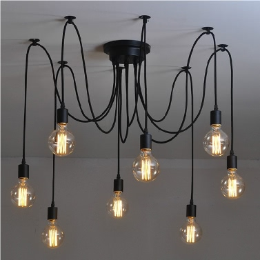 Lixada 8 Arms(each with 1.7m wire) Antique Classic Ajustable DIY Ceiling Spider Lamp Light E27 Retro Chandelier Pendant Dining Hall Bedroom Hotel