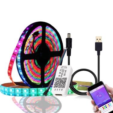 DC 5V 1m / 2m USB LEDs Tiras Light Kit RGB 5050 Luzes de mudança de cor Corda BT APP Control Individualmente endereçável
