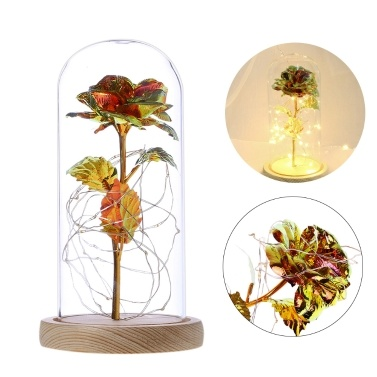Goldfolie Rose mit Lampe