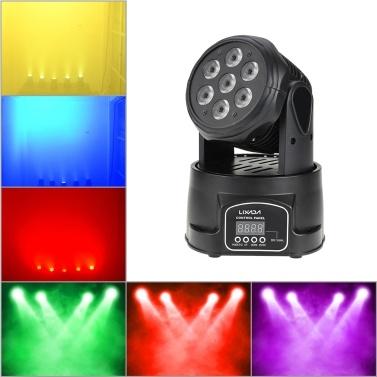 Lixada 70W 4 In 1 RGBWミニムービングヘッドLEDステージライト