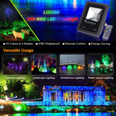 Lixada 10W LED Super Bright Light Outdoor 10W Security Floodlight 100W Halogen Bulb Equivalent Water-resistant IP66 Daylight White 6000K 800LM