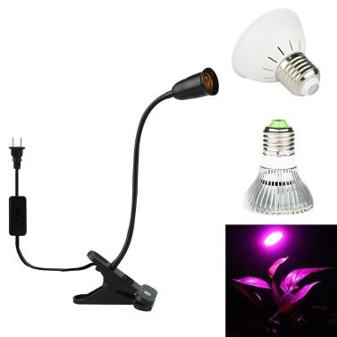 E27 Bulb Flexible Clip-On Desk Lamp Holder for Plant Growing