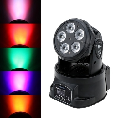 Lixada 75W 5 LEDs Colors Changing Head Moving Light Stage Wash Lamp