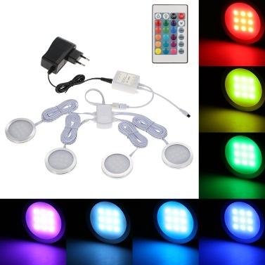 4PCS Slim Round Shape RGB LED Cabinet Light Kit