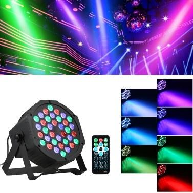 AC90-240V 24W 36 LEDs RGB Mini Stage Par Light Lighting Fixture with IR Remote Control Controller