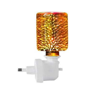 3D Effekt Feuerwerk Glas Nachtlicht Elektrischer Ölwärmer Wachsbrenner Home Office Räucherstäbchen Ölwärmer Aroma Dekorative Lampe