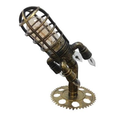 Steampunk Rocket Lamp Home Decoraion Retro Industrial Steampunk Nachtlicht mit Simulationsflammen-LED-Lampen