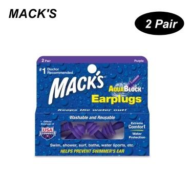 MACK'S 2 Pairs Anti-Geräusch-Silikon Ohrstöpsel Professionelle wasserdichte Schwimmen Ohrstöpsel