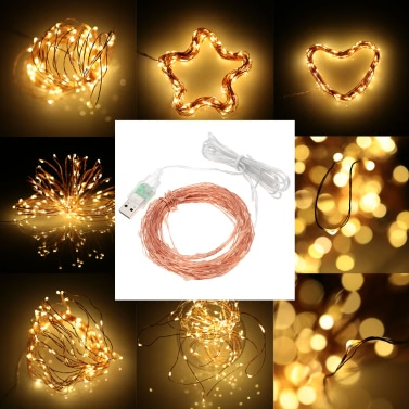 35% OFF 10M 100LEDs USB Copper Wire Starry String Light,limited offer $3.99