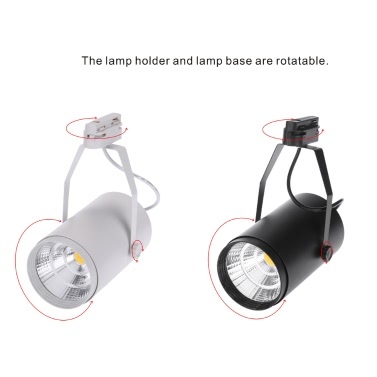 12W AC85-265V 1080LM COB Track Rail LED Light Spotlight Lamp Adjustable for Shopping Mall Clothes Store Exhibition Office Use Black
