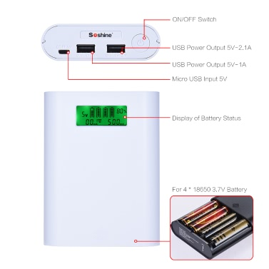 Soshine E3S Portable LCD Display 4 Slots 18650 Battery External Charger Holder Box Case DIY Power Pack Kit Compact Backup Power Source with Dual-USB Port - White