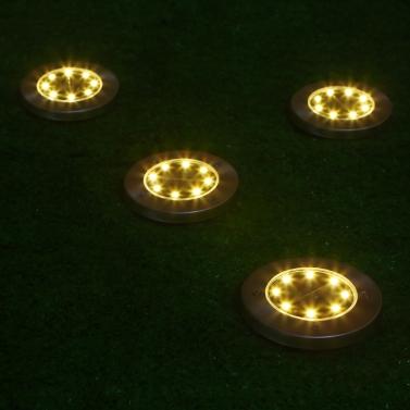 4Pcs 8 LEDs 20LM Solar Powered Ground Lawn Light Disk Light
