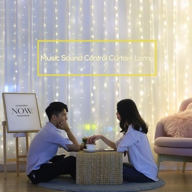 3*3-m USB Music Sound Control String Light Starry Curtain Lamp with Remote Home Decoration Lamp
