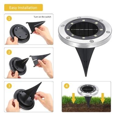 4 Packungen Solar Ground Disk Light 8 LEDs Außenlandschaftslampe IP65 Wasserbeständigkeit für Patio Garden Lawn Pathway Yard Einfahrt Dekoration Beleuchtung