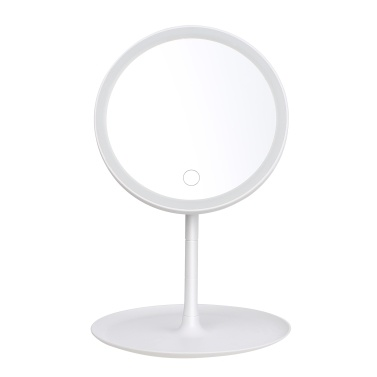 Rechargeable Round Makeup Mirror with L-ED Light Screen Switch Detachable Base Desk Makeup Mirror