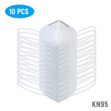 10 PCS Máscara Facial descartável KN95 FFP2 Respirador de proteção tridimensional Máscara de filtro de 5 camadas> 95% de filtração Barra de nariz adaptável