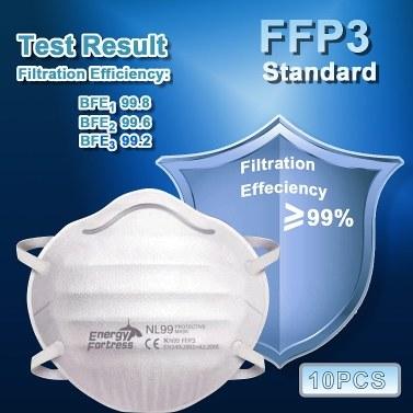 10 PZ NL99 Maschera facciale 4 strati Maschera protettiva monouso 99% Filtrazione Efficienza KN99 FFP3 Standard Protezione antipolvere spessa antipolvere standard