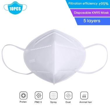 10 PCS FFP2 KN95 Máscara Facial 5 Camadas Descartáveis Anti PM2.5 Anti Respirador de Partículas-Máscara Boca-Máscara Respirável À Prova de Poeira