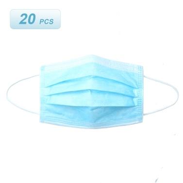 20 pcs Máscara Descartável 3 Camadas Respirável Não-tecido Earloop Rosto Tampa da Boca Poeira Pólen Alergias Filtro Máscara Sanitária de Proteção para a Estação da Gripe Dailywear Azul