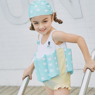 Girl One-Piece Float Swimsuit+Cap+Arm Ring Stylish Cute Swimwear With Removable Buoyancy Perfect for Kid Learn to Swim Rose 90cm