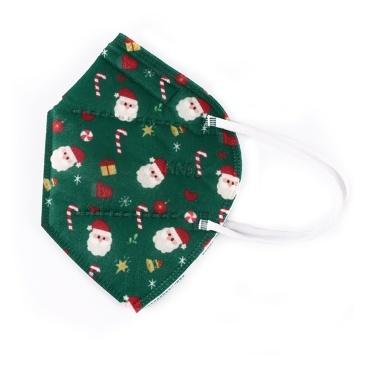 1pc KN95 Maschera per il viso usa e getta Maschera antipolvere con filtro a 5 strati con motivo natalizio